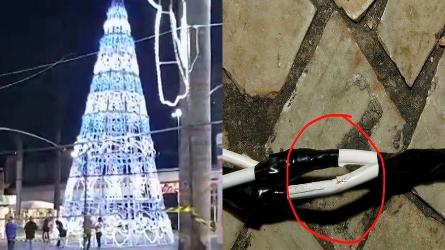 Decoração de Natal com fio desencapado em Caldas Novas (GO)