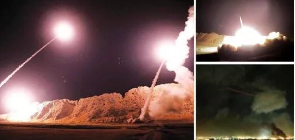 Foguetes em direção a base militar dos EUA no Iraque (Foto: @Imamofpeace)
