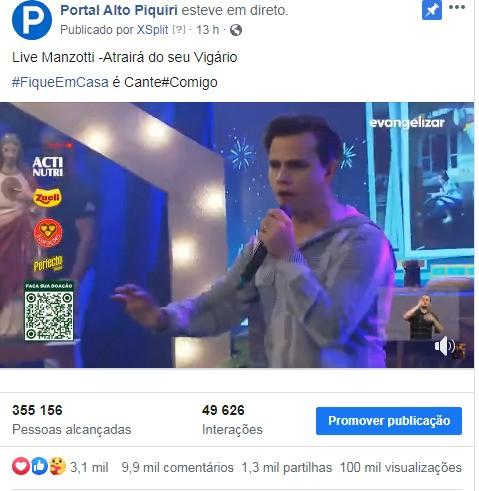 100 mil: Portal Alto Piquiri bate recorde de visualizações em live do Padre Reginaldo Manzotti